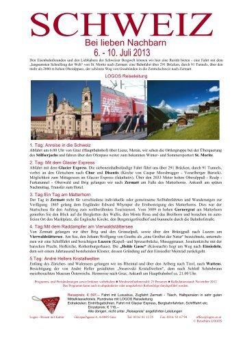 Reiseinformation Schweiz - Logos Reisen