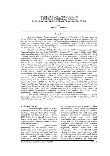 Pemantauan dan Evaluasi Konservasi Sumber Daya Mineral di ...