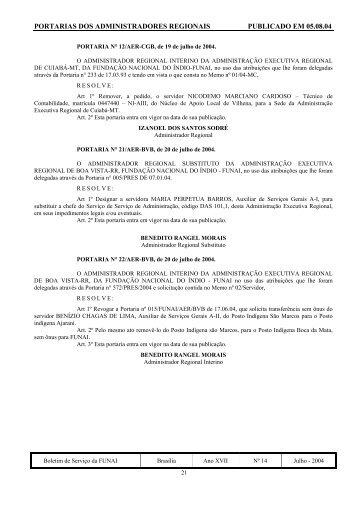 Portarias dos Administradores Regionais - Funai
