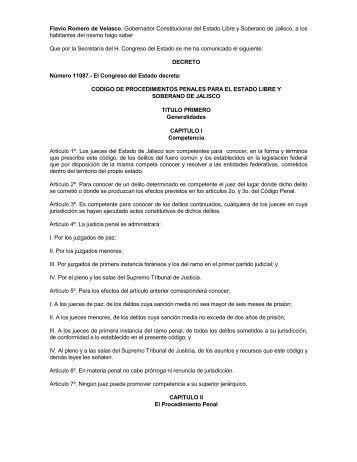 Código de Procedimientos Penales para el Estado de Jalisco - Siteur