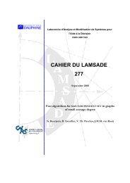 CAHIER DU LAMSADE 277 - Lamsade - Université Paris-Dauphine