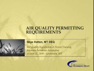 Air Quality Permitting Requirements - Montana Petroleum Association