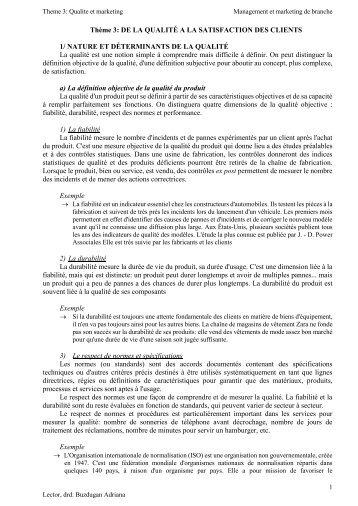 Thème 3: DE LA QUALITÉ A LA SATISFACTION DES CLIENTS 1 ...