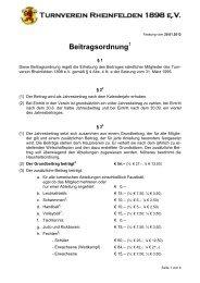 Beitragsordnung - TV Rheinfelden 1898 eV