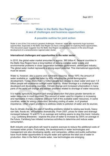 Water in the Baltic Sea Region - Baltic Development Forum