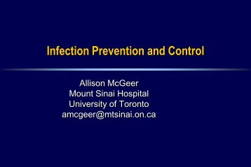 Infection Control - Infectious Diseases - University of Toronto