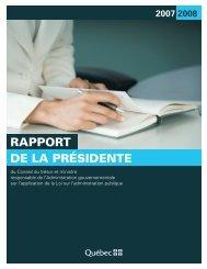 RAPPORT DE LA PRÉSIDENTE - Secrétariat du conseil du trésor ...