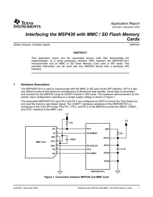 Interfacing the MSP430 with MMC / SD Flash Memory Cards