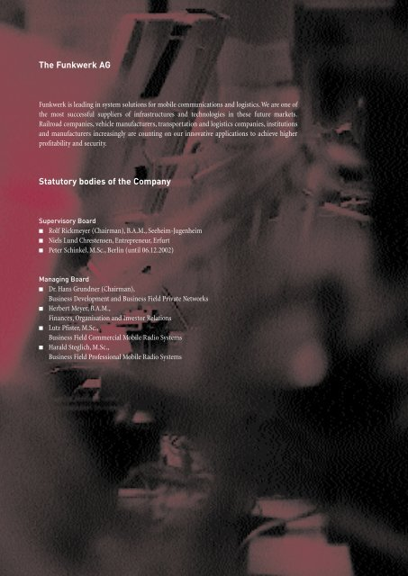 Annual Report 2002 - Funkwerk AG