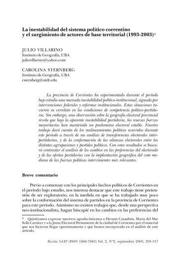 La inestabilidad del sistema político correntino y el surgimiento de ...