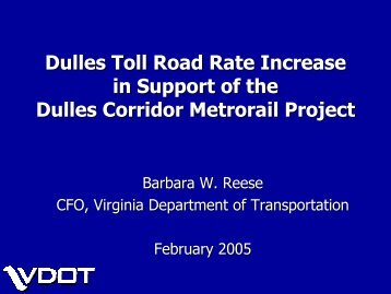 Proposed Toll Increase - Virginia Department of Transportation