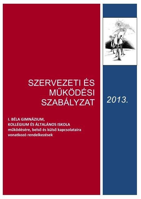 SZMSZ letöltése - I. Béla Gimnázium