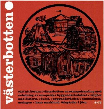 värt att bevara i Västerbotten - Västerbottens museum