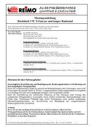 Montageanleitung Hochdach VW T4 kurzer und langer ... - Reimo