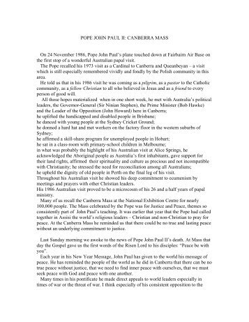 POPE JOHN PAUL II: CANBERRA MASS