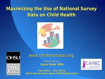 Maximizing the Use of National Surveys on Children's Health