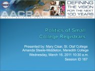 Politics of Small College Registrars - AACRAO