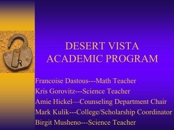 Eigth Grade Open House Academic Program - Desert Vista High ...