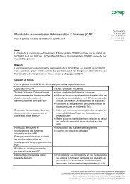 Mandat de la commission Administration & finances (CAF) - cohep