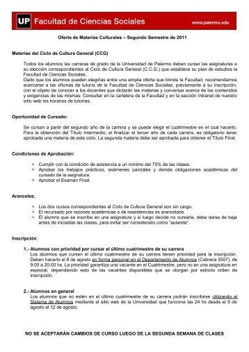 Oferta de Materias Culturales - Intranet - Universidad de Palermo
