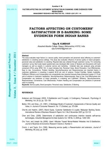 satisfaction in e-banking - Management Research and Practice