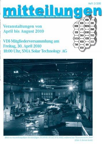 Veranstaltungen von April bis August 2010 VDI ...