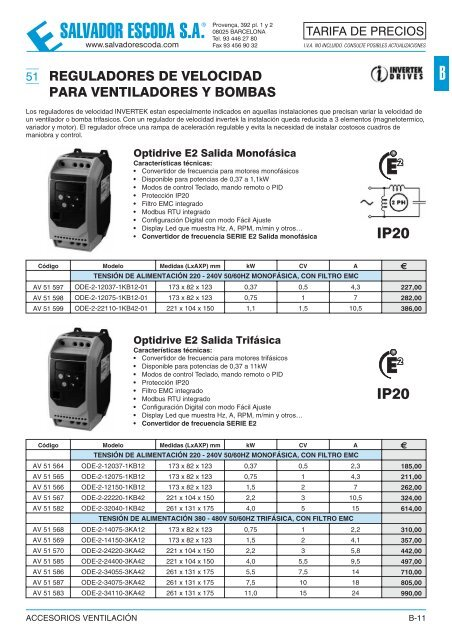 Tarifa de Precios - Accesorios Ventilacion - El blog del instalador