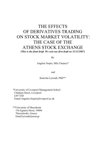 The Effects of Derivatives Trading on Stock Market - Finance ...