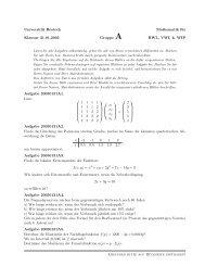 Universität Rostock Mathematik für Klausur 31.01.2005 Gruppe A ...