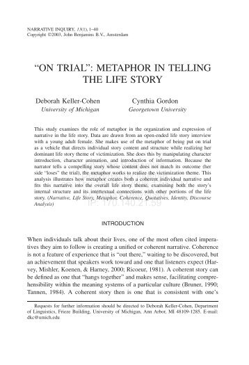 """""""ON TRIAL"""": METAPHOR IN TELLING THE LIFE STORY"""