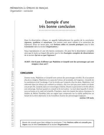 Dissertation critique exemple conclusion