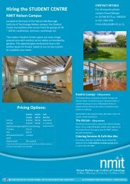 Venue Hire Flyer - NMIT