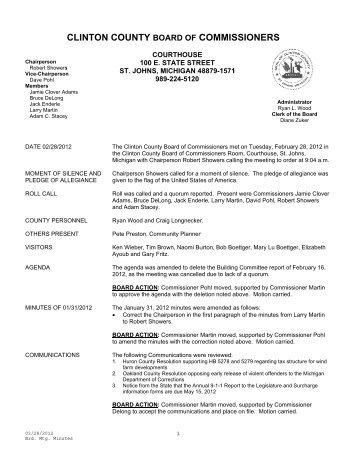 CLINTO ON COUN NTY BOA COMMIS SSIONE RS - Clinton County