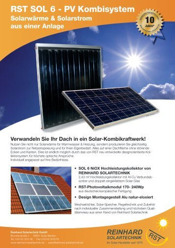 RST SOL 6 - PV Kombisystem - Reinhard Solartechnik