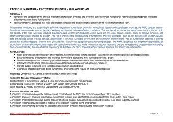 Pacific Humanitarian Protection Cluster Work Plan 2012 - Global ...