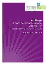 Brochures du Master - Master Arbitrage & Commerce International