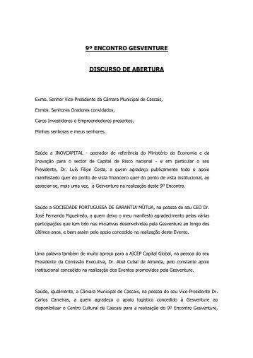 9º ENCONTRO GESVENTURE DISCURSO DE ABERTURA