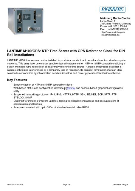 LANTIME M100/GPS: NTP Time Server with GPS     - inl system ab