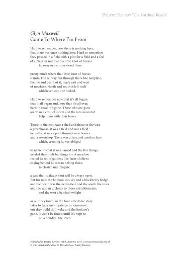 Come To Where I'm From - The Poetry Society
