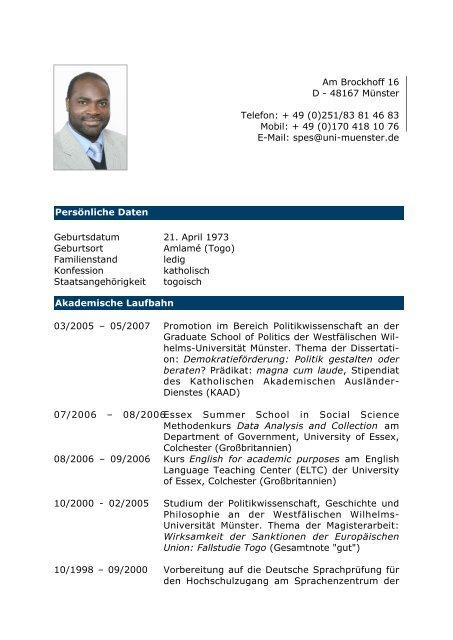 Lebenslauf Von Dr A Essousso Cfid Togo