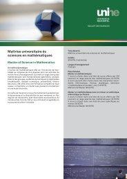 Master ès sciences en mathématiques - Université de Neuchâtel