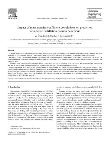 Impact of mass transfer coefficient correlations on prediction of ...