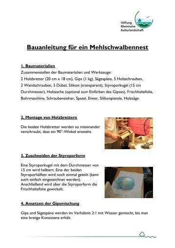 Anleitung zum Bau eines Schwalbennestes. - Stiftung Rheinische ...