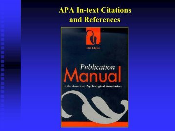 APA Citations and References