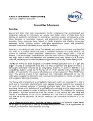 Future Achievement International® Competitive Advantages