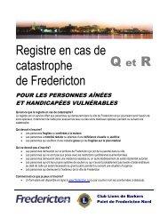 Registre en cas de catastrophe questions et réponse - Fredericton