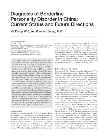 Diagnosis of Borderline Personality Disorder in China ... - Springer