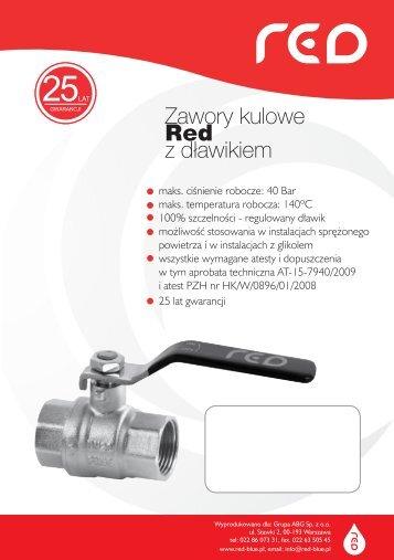 Zawory kulowe Red z dławikiem - Instalbud