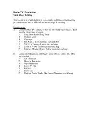 Radio/TV Production Shot Sheet Editing