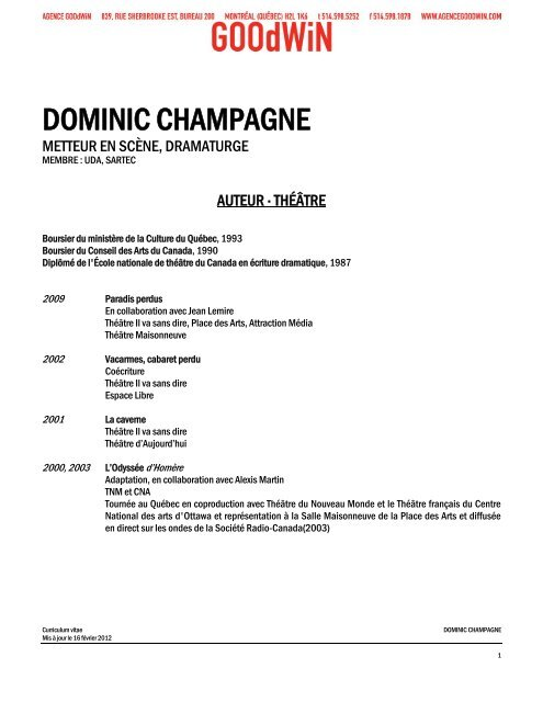 DOMINIC CHAMPAGNE - Agence Goodwin